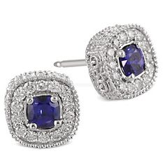 Christopher Designs 18K White Gold Cushion Sapphire and Round Diamond Earrings from Borsheims