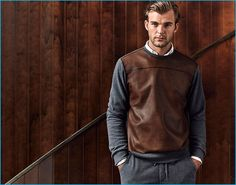 Patrick Kafka wears a leather pullover from Massimo Dutti's fall-winter 2016 men's equestrian collection.