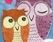Watercolor Painting: Watercolor Illustration Owl -- Art Print --  Mother Owl and Owlet