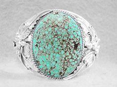 Navajo Bracelet Turquoise #8 Edgar Sterling Silver Native American Indian