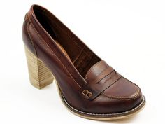 LACEYS RETRO WOMENS HEELED LOAFERS SHOES TAN