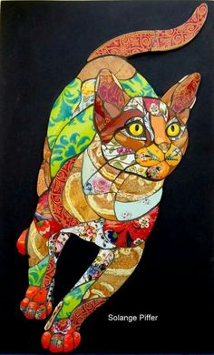 making pets - Solange Piffer april 2019 Arrival on Sunday, 5 day Workshop, Depart Saturday During this workshop you will create a mosaic. Mosaic Designs, Mosaic Patterns, Mosaic Crafts, Mosaic Art, Bastet, Mosaic Animals, Cat Quilt, Animal Quilts, Applique Quilts