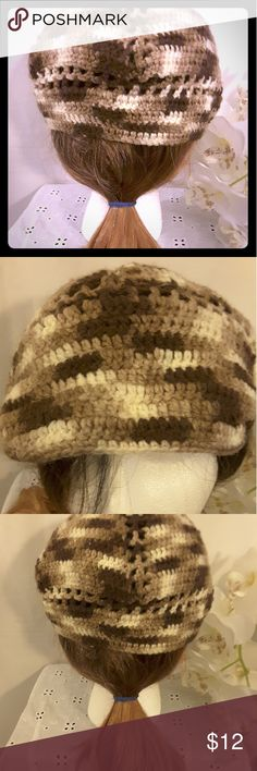 Handmade doilie In Dark Brown and Tan This is a Perfect Grab cap you can wear to run errands in style  when you don't want to monkey with your own hair, It's very comfortable and can make a fashion statement Handmade Accessories Hats