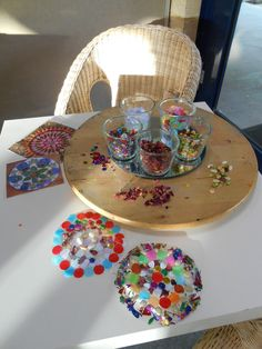 Mandalas with clear contact paper. The Lazy Susan with the glasses and the mirror is very inspiring.