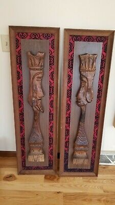 Vintage King Queen WITCO CARVED 3-D Tiki WOOD SCULPTURE MID CENTURY MODERN MCM | eBay Mid Century Modern Art, Wood Sculpture, King Queen, Kitsch, 3 D, Mid-century Modern, Carving, Painting, Ebay