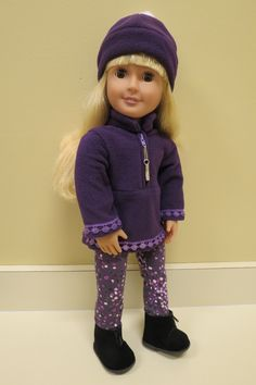 Handmade Purple Fleece Pullover Top and Leggins Set for Our Generation, My Life & American Girl Dolls