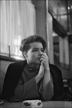 Romy Schneider on the set of The Trial directed by Orson Welles, 1962