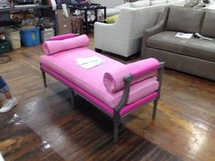 A Suzanne Kasler Woodward Bench made pretty in pink for Hickory Park Furniture Galleries.