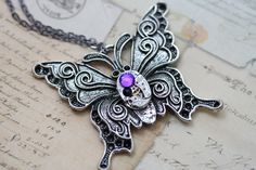 "Steampunk Necklace Butterfly Necklace Steam Punk Purple Silver Black Helitrope  - 24"" Chain - Gunmetal Vintage. $39.00, via Etsy."