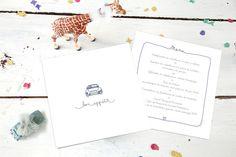 menu de mariage voiture de collection par Tomoë pour www.rosemood.fr #mariage #menu #wedding
