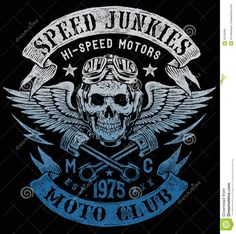 Speed Junkies Motorcycle Vintage Design Stock Image - Image: 34765091