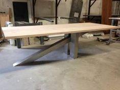 Springplank tafel eikenhout RVS onderstel