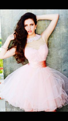 Sherri Hill dress | party dress | occasion dress | pretty dress | cute dress | prom dress | baby pink dress | collared dress | short dress |