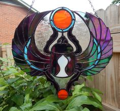 Egyptian Scarab Beetle  Stained Glass by Handcraftcottage on Etsy