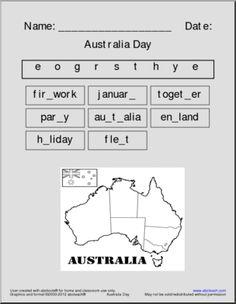 Vocabulary: Australia Day Activities (primary)   abcteach Student Teacher, New Teachers, Word Puzzles, Australia Day, Geography, Vocabulary, Homeschool, The Unit, Teaching
