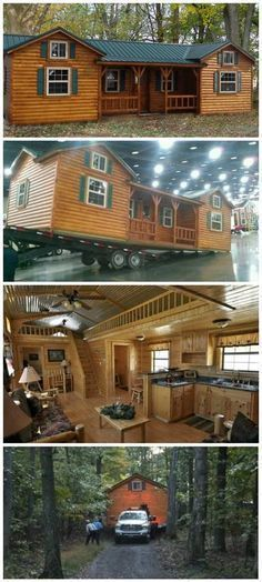 38 Rustic Tiny House Ideas - Page 34 of 39 Town Country Haus, Casas Containers, Log Cabin Homes, Log Cabins, Diy Cabin, Log Cabin Mobile Homes, Prefab Log Homes, Modular Log Homes, Amish Cabins
