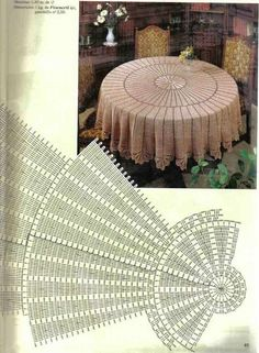 Round Pineapple Tablecloth 7592 pattern by The Spool Cotton Company Crochet Tablecloth Pattern, Crochet Doily Rug, Crochet Doily Diagram, Crochet Square Patterns, Crochet Art, Crochet Round, Crochet Home, Thread Crochet, Filet Crochet
