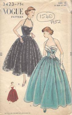 1952 Vintage VOGUE Sewing Pattern B33 DRESS (1540)