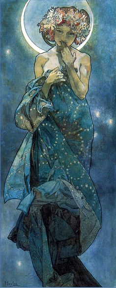 Alphonse Mucha (Czech, 1860-1939). The Moon