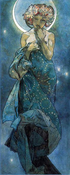 Alphonse Mucha (Czech, 1860-1939). The Moon