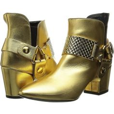 Just Cavalli Low Heel Bootie with Gold Hardware Women's Pull-on Boots ($690)