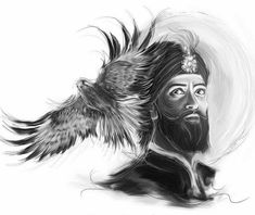 Cool Art Drawings, Art Sketches, Drawing Ideas, Guru Tegh Bahadur, Eagle Wallpaper, Mobile Wallpaper, Guru Nanak Wallpaper, Baba Deep Singh Ji, Eagle Sketch