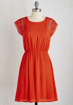Of Course I'll Come! Dress. In this rich coral dress, youre up for anything! #red #modcloth