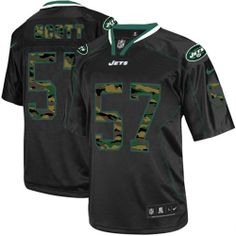 5cfea5be9 NFL New York Jets  57 Bart Scott Elite Black Camo Fashion Men Jersey Camo  Fashion