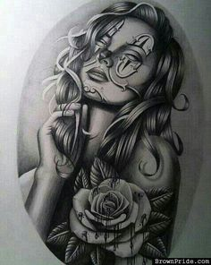 Chola Tattoo Designs Clown Woman Payasa Htown Tattoo California Chola By Txrec On Deviantart Chicano Tattoos, Art Chicano, Chicano Drawings, Cholo Art, Body Art Tattoos, Sleeve Tattoos, Chicano Movies, Tattos, Tattoo Girls