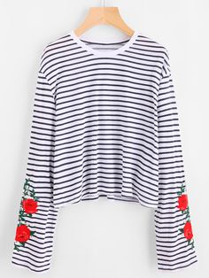 dc5bf11dc6b80 Flower Embroidered Striped Tee Shirt Black And White Round Neck Autumn Top  Ladies Long Sleeve Casual Shirt