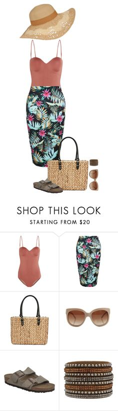"""""""Splish Splash!"""" by sultrysalem ❤ liked on Polyvore featuring Prism, New Look, Straw Studios, STELLA McCARTNEY and Birkenstock"""