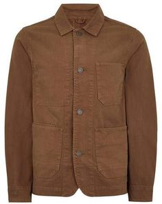 49ee2716aed SELECTED HOMME Brown Canvas Worker Jacket