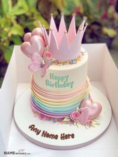Happy Birthday Princess Cake, Queens Birthday Cake, Birthday Cake Write Name, Little Girl Birthday Cakes, Little Girl Cakes, Baby Girl Birthday Cake, 7th Birthday Cakes, Cake Name, Beautiful Birthday Cakes