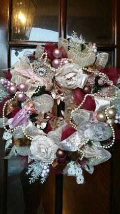 Vintage victorian style Christmas wreath for only $70 by One Wreath at a Time.  To order text Ruth @ 601-715-0119.