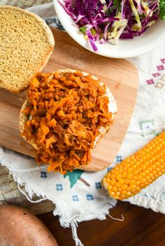 """BBQ Pulled Sweet Potato Sandwiches   yupitsvegan.com. Spicy and savory """"pulled"""" sweet potato served up on a bun with the works. Gluten-free optional."""