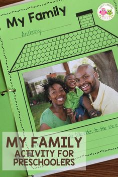 Find activities and ideas for your My Family or All about Me theme unit or lesson plans in your preschool or pre-k classroom. Kids can draw pictures or add a photo of their family on this free printable activity sheet. Use as a take-home activity to get parents involved. Display on the bulletin board or bind all your students' pages together to make a class book to share at circle time or leave in your class library. Use at Thanksgiving or during the first week too Preschool Family Theme, Alphabet Activities Kindergarten, Pre K Activities, Preschool Lesson Plans, Language Activities, Preschool Learning, Teaching, Preschool Crafts, Family Activities