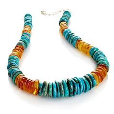 Jay King Turquoise and Amber Beaded Disc Necklace