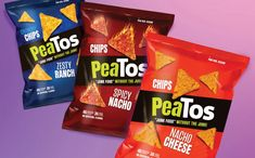 PeaTos releases new tortilla style chips line in US - FoodBev Media Snack Brands, Nacho Chips, Food Packaging Design, Confectionery, Junk Food, Pop Tarts, Healthy Snacks, Spicy, Snack Recipes