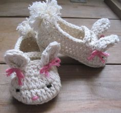 Bunny baby booties 100 cotton free shipping by katiemack22 on Etsy, $17.00