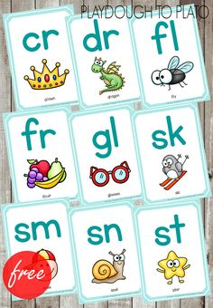 Free blends cards to use as posters or game flashcards. Great visual for learning blends!