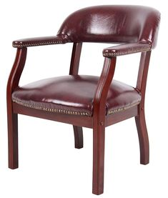 Traditional Captains Arm Chair Deskside Lounge Mahogany Finish Burgundy Vinyl  #OfficeProducts