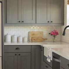 Grey kitchen white subway tiles planning a dream kitchen the mum diary gray kitchen cabinets with white subway tile Farmhouse Kitchen Cabinets, Kitchen Redo, New Kitchen, Kitchen Dining, Kitchen White, Rustic Kitchen, Craftsman Kitchen, Kitchen Paint, Kitchen Countertops