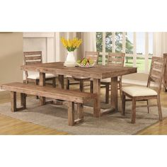 constructed from premium solid wood for sturdy durbility and a natural reclaimed look. The table and bench boast an open shaped base that adds a clean style to this dining set. Soft fabric upholstery for supreme comfort.