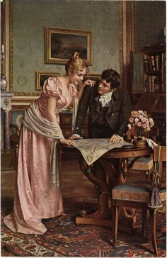 Planning the Grand Tour ~ Emil Brack ~ (German: Victorian Paintings, Victorian Art, Old Paintings, Beautiful Paintings, Romantic Paintings, Classical Art, Couple Art, Renaissance Art, Art History