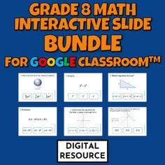 Interactive Google Slides digital task card math games covering grade 8 math geometry, expressions and equations CCSS 8.G.B.7 8.G.C.9 8.EE.A.1 8.EE.A.3 8.EE.A.4 8.EE.B.6 8.EE.C.8.A Distance LearningEach Product includes2 challenges, 10 multiple choice self-checking problems eachDigital product - no... Multiple Choice, Google Classroom, Math Games, Task Cards, Geometry, Distance, Self, Challenges, Learning
