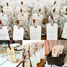 very green idea for escort cards which can also serve as favors. place seeds to plant a different type of plant/tree inside small mason jars.