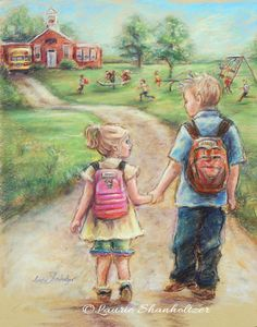 Little sister, big brother, TAKE MY HAND LITTLE SIS paper or canvas print, child wall art, Brother and sister by Laurie Shanholtzer