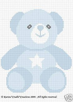 TEDDY BOY BEAR Color Graph Baby Afghan Pattern *EASY