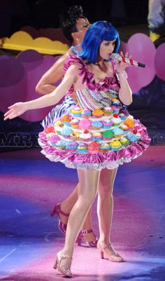 Katy Perry always has the sweetest style. Crazy jealous this Cupcake Dress she performed in!