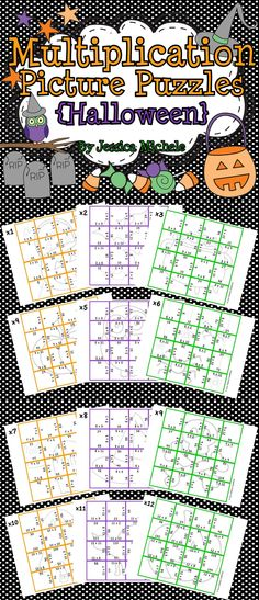 Multiplication Picture Puzzles are a great way for your students to develop multiplication fluency with products up to 144!   12 puzzles are included in this set with each one focusing on a factor from x1 to x12. HALLOWEEN $